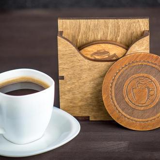 Костеры / подстаканники деревянные с индивидуальной гравировкой