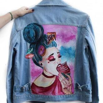 джинсова курточка з принтом