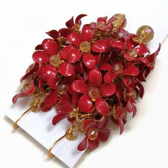 Красные вечерние серьги с цветами, красные свадебные серьги, цветочные украшения на свадьбу