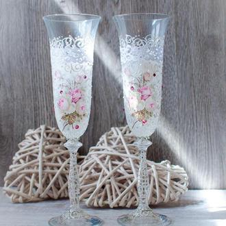 "Свадебные бокалы ""Roses with crystals"""