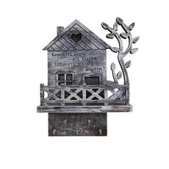 """Деревянная настенная открытая ключница """"Ключи от счастья"""" с полочкой"""
