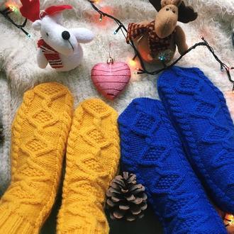 Вязанные женские носки, новогодние носки для фотосессии или подарка, мужские шерстяные носки