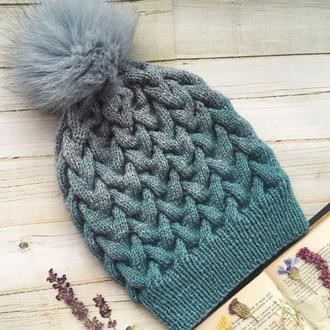 Зимняя шапка омбре, градиент осенняя шерстяная шапка с бубоном женская переход цвета разноцветная