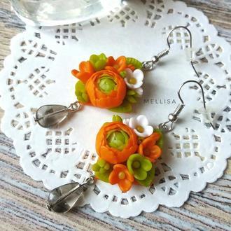 Милые цветочные серьги