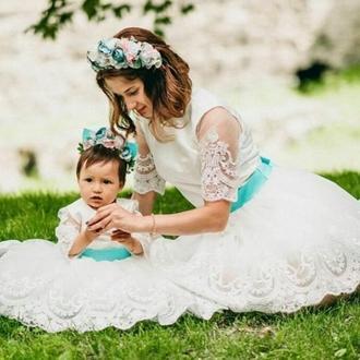 Комплект одинаковых платьев мама и дочка в стиле Family look