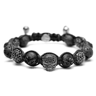 Мужской браслет Lotus Design с лавой, эбеновым деревом и черепом с черными цирконами