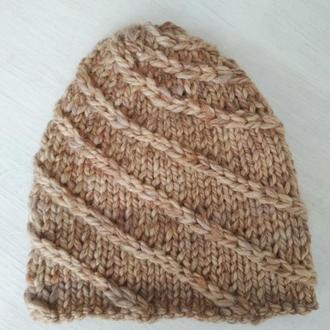 зимняя шапка из толстой пряжи