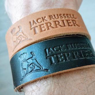 Кожаный браслет Jack Russell Terrier на гвоздике