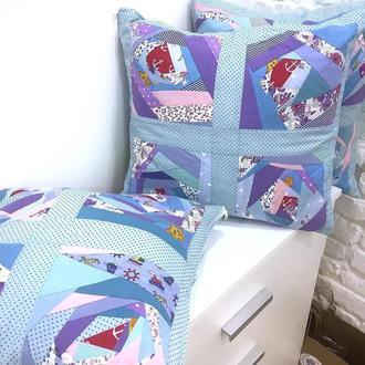 подушки в стиле пэчворк, лоскутные наволочки декоративные подушки, подушки , квилт