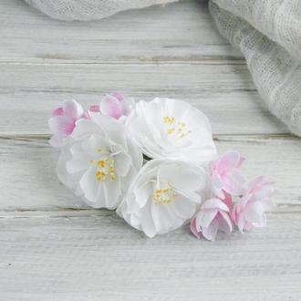 Заколка с цветами, Нежный гребень в волосы, Красивая заколка для волос, Украшение в прическу невесте