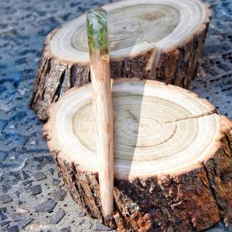 Заколка палочка из дерева и эпоксидной смолы, заколка с сухоцветом моживельника, подарок для женщин