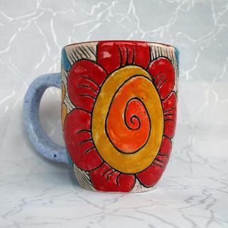 """Авторська керамічна чашка """"Квіткова"""""""