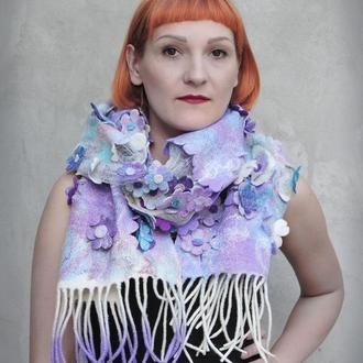 Валяний шарф КВІТКОВА ІСТОРІЯ