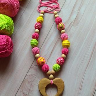Слингобусы, игрушка девочке, мама бусы, кормительные бусы, грызунок, ручная работа подарок малышу