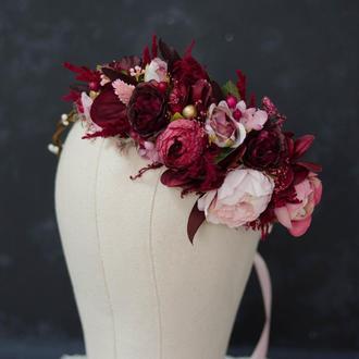 Венок вишнево-нежно-розовый