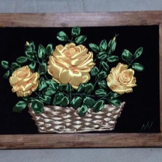 Авторская работа картина вышитая атласными лентами, Розы