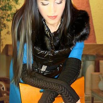 Митенки - перчатки без пальцев - загадочный черный
