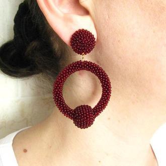 Бордовые серьги кольца из бисера (La La hoop) (40 цветов)