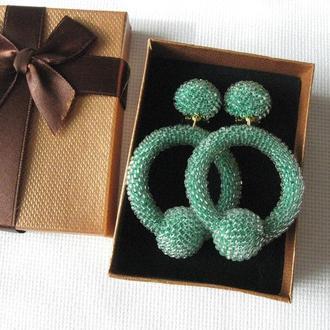 Зеленые серьги кольца из прозрачного бисера (La La hoop) (40 цветов)