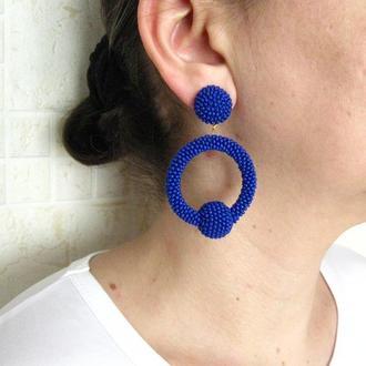 Синие серьги кольца из бисера (La La hoop) (40 цветов)