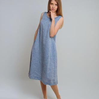 Лляна сукня-трапеція (колір - світлий денім)