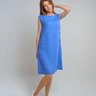 Лляна сукня-трапеція волошкового кольору