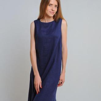 Лляна сукня-трапеція чорнильного/темно-синього кольору