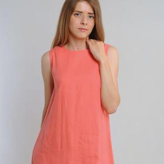 Лляна сукня-трапеція коралового кольору