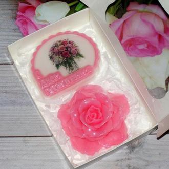 Сувенирное мыло набор на день рождения Роза и мыло с картинкой
