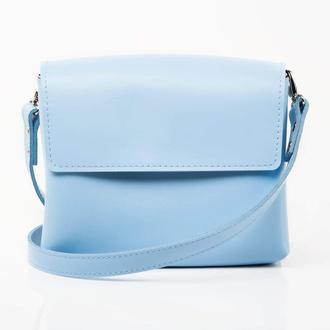 SEA Light Blue Авторська сумка з натуральної шкіри та дерева