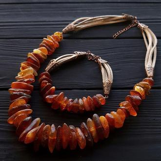 Комплект з натурального бурштину намисто, браслет бусы из натурального янтаря браслет из янтаря