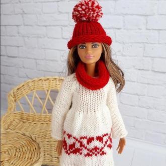Одежда на Барби. Зимний Новогодний комплект