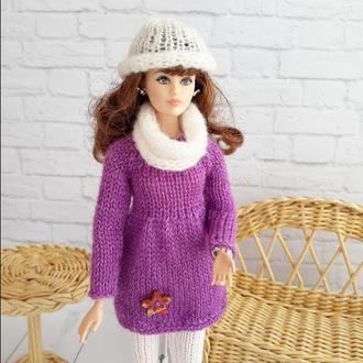 Одежда для кукол Барби Зимний комплект с сиреневой туникой