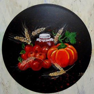 Виниловая пластинка  с рисунком  для украшения интерьера.