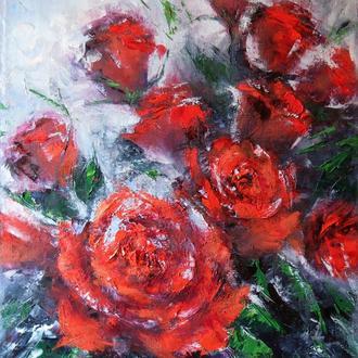 Авторская картина маслом на холсте с цветами Красные розы