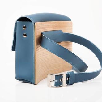 SEA Steelblue Авторська сумка з натуральної шкіри та дерева