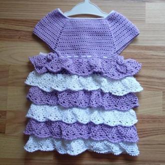 Вязаное платье для девочки, разм. до 1 года (74/80)