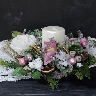 Композиция рождественская на стол со свечой
