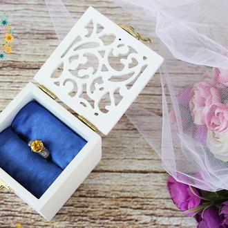Свадебная коробочка для колец в белом цвете с синим атласом, резная свадебная шкатулка