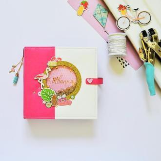 """Детский фотоальбом """"Фламинго"""", беби-бук, малиновый альбом для девочки"""