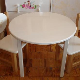 Столик круглый со стульями(ольха)