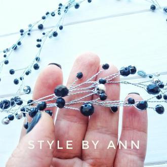 Длинная ветка для волос черно-серебристая