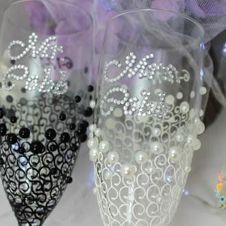 Свадебные бокалы ′Россыпь жемчуга′ в цвете айвори-черный, эксклюзивная дизайнерская роспись