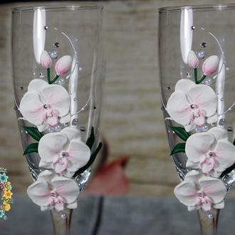 Свадебные бокалы Орхидея, ручная лепка, стразы, жемчуг