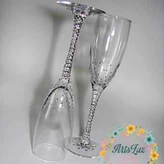 Свадебные бокалы со стразами- Сияющие свадебные фужеры-Бокалы с кристаллами