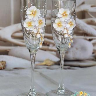 Свадебные бокалы Плюмерия для тропической или Beach Wedding