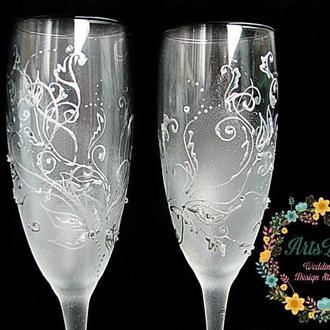 Свадебные бокалы Зимняя сказка-Фужеры с ручной росписью и стразами