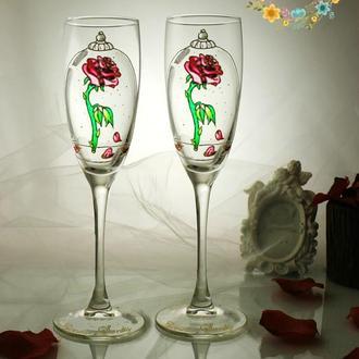 """Сказочные свадебные бокалы ′Красавица и чудовище """"Магическая роза"""""""