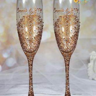 Свадебные бокалы с ручной росписью Розы Античное золото-Бокалы со стразами, именами и датой свадьбы