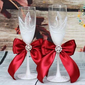 Свадебные бокалы Влюбленные Голуби с жемчугом